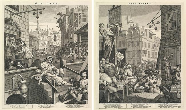 Gin Lane και Beer Street από τον Χόγκαρθ